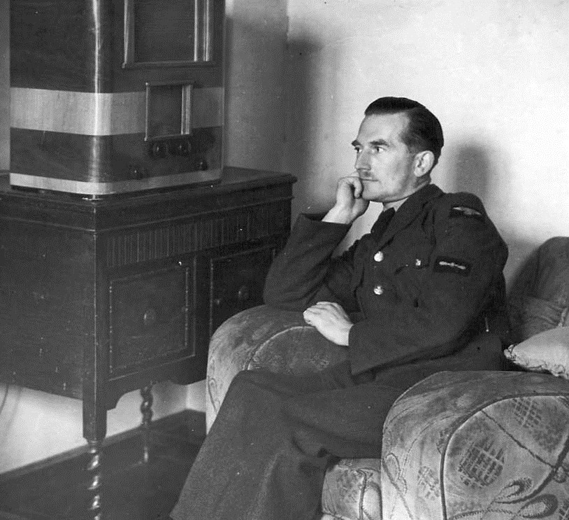 Cyril on leave listening to music 1940's